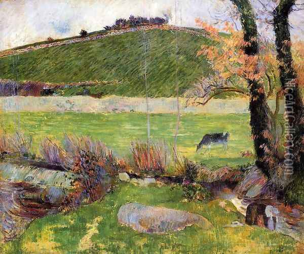 A Meadow On The Banks Of The Aven Oil Painting - Paul Gauguin