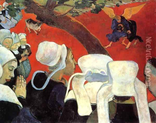 The Vision After The Sermon Aka Jacob Wrestling The Ange Oil Painting - Paul Gauguin