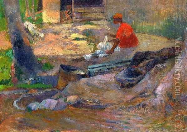 A Little Washerwoman Oil Painting - Paul Gauguin