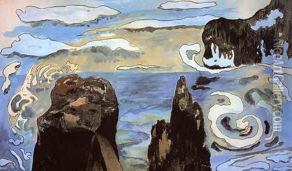 At The Black Rocks Aka Rocks By The Sea Oil Painting - Paul Gauguin