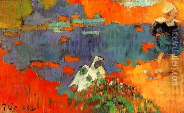 Breton Woman And Goose By The Water Oil Painting - Paul Gauguin