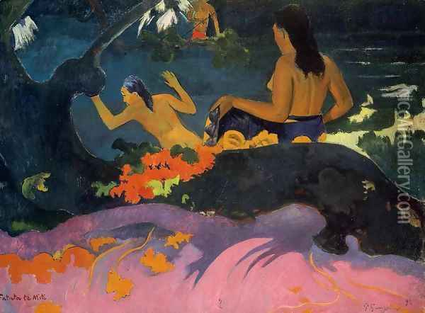 Fatata Te Miti Aka By The Sea Oil Painting - Paul Gauguin