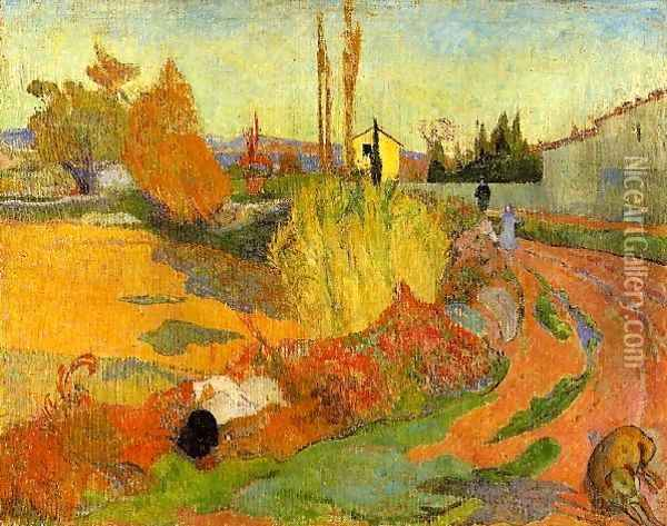 Landscape Farmhouse In Arles Oil Painting - Paul Gauguin