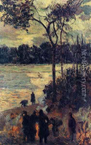 Fire By The Water Oil Painting - Paul Gauguin
