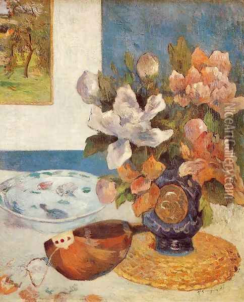 Still Life With Chinese Peonies And Mandolin Oil Painting - Paul Gauguin