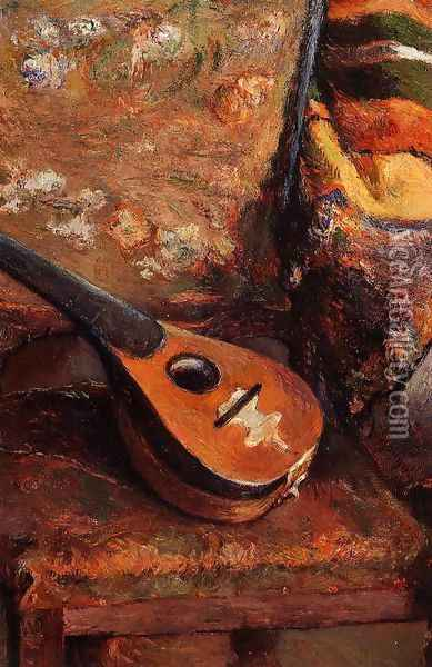 Mandolin On A Chair Oil Painting - Paul Gauguin