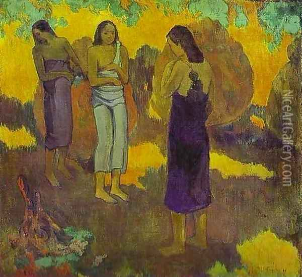 Three Tahitian Women Against A Yellow Background Oil Painting - Paul Gauguin