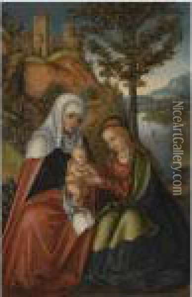The Madonna And Child With Saint Anne In A Landscape Oil Painting - Lucas The Elder Cranach