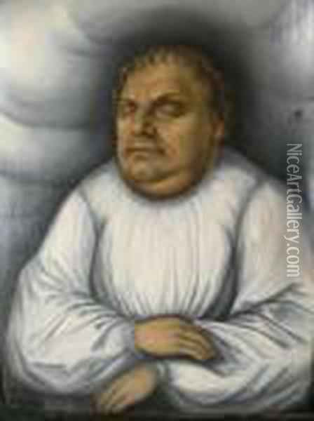 Portrait Of A Gentlemanon His Deathbed Said To Be Martin Luther Oil Painting - Lucas The Elder Cranach