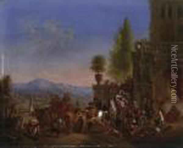 Homecoming From The Hunt.  Horsemen, Servants And Maidens In Front Of The Palace. With Monogram  Left On The Well: Cvf F Oil Painting - Carel van Falens or Valens