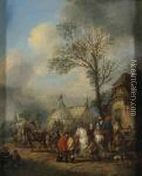 An Elegant Hunting Party About To Depart; And Horsemen And Otherfigures Before An Inn Oil Painting - Carel van Falens or Valens