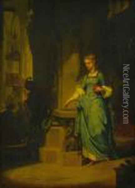 Two Paintings Depicting Gretchen Oil Painting - Wilhelm von Kaulbach