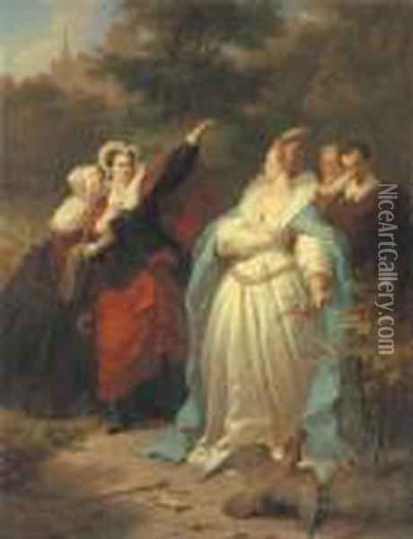 Mary, Queen Of Scots And Elizabeth I Oil Painting - Wilhelm von Kaulbach