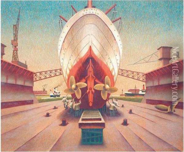 Ship In Dry Dock Oil Painting - Edward Wadsworth