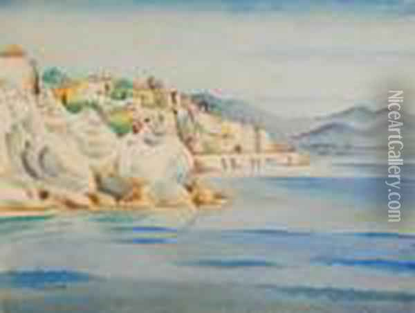 Mediterranean Coastal Scene With Buildings Close To The Shore And A Rocky Headland Oil Painting - Albert Wainwright