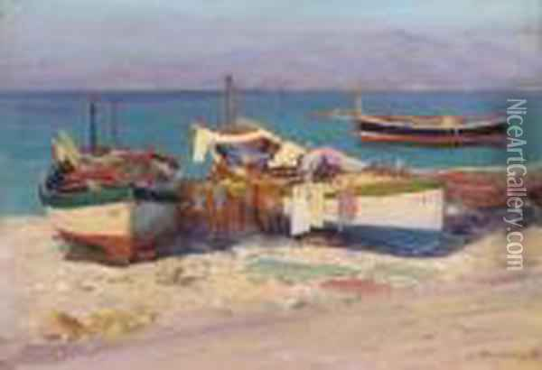 Fishing Boats Onshore Oil Painting - Lionel Walden