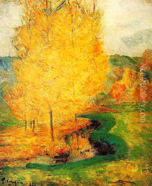By the Stream, Autumn Oil Painting - Paul Gauguin