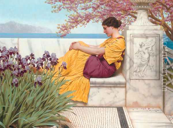 'Under the Blossom that Hangs on the Bough' Oil Painting - John William Godward