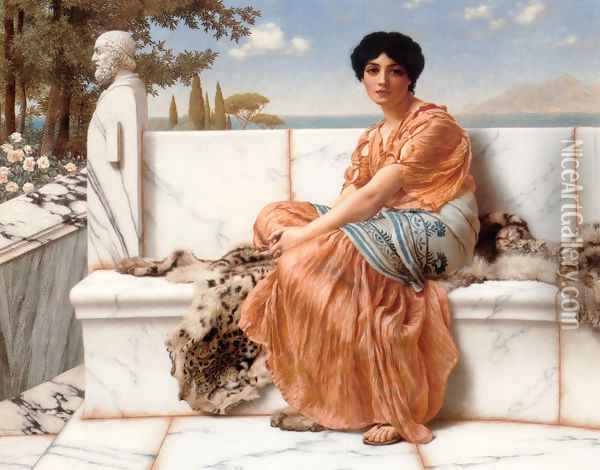 In The Days Of Sappho Oil Painting - John William Godward
