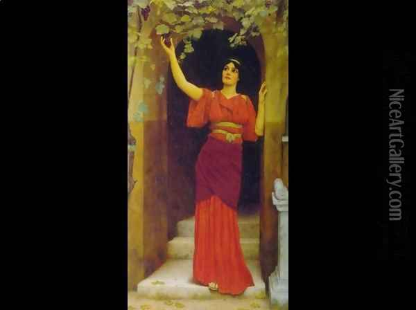 Young Girl Picking Grapes Oil Painting - John William Godward