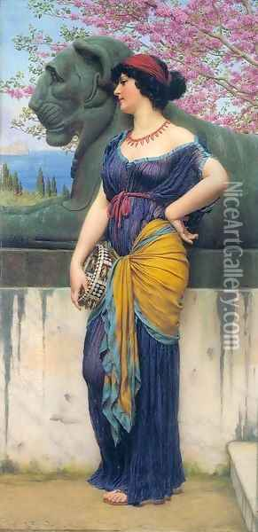In the Grove of the Temple of Isis Oil Painting - John William Godward