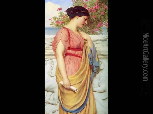 Sappho Oil Painting - John William Godward