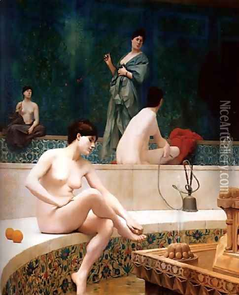 A Bath, Woman Bathing Her Feet (or Harem Pool) Oil Painting - Jean-Leon Gerome