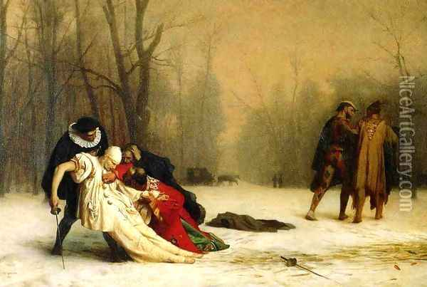 Duel After a Masquerade Ball Oil Painting - Jean-Leon Gerome