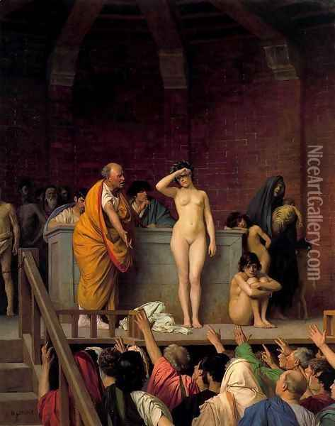 Slave Auction or Slave Market in Rome Oil Painting - Jean-Leon Gerome