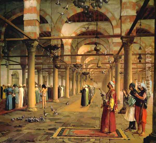 Public Prayer in the Mosque of Amr, Cairo Oil Painting - Jean-Leon Gerome