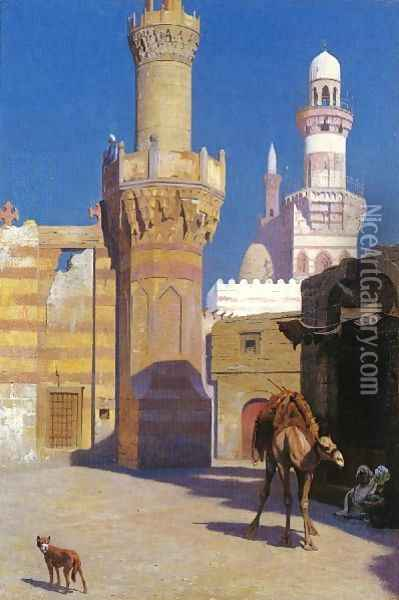 A Hot Day In Cairo In Front Of The Mosque Oil Painting - Jean-Leon Gerome