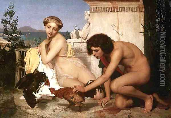 Young Greeks at a Cock Fight Oil Painting - Jean-Leon Gerome