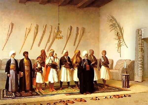 Prayer In The House Of An Arnaut Chief Oil Painting - Jean-Leon Gerome