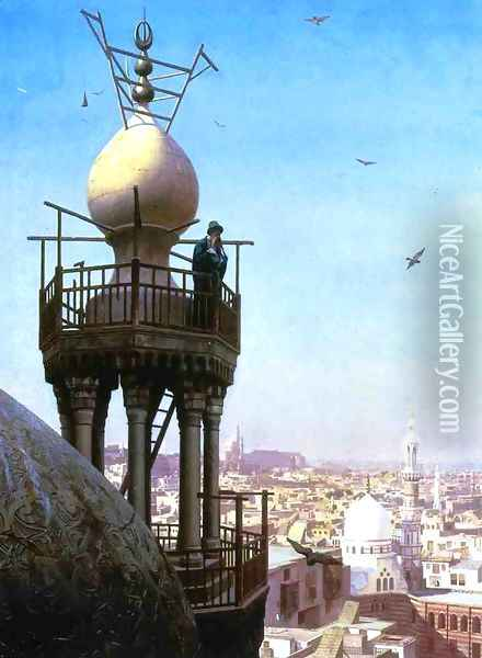 A Muezzin Calling From The Top Of A Minaret The Faithful To Prayer Oil Painting - Jean-Leon Gerome