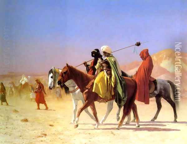 Arabs Crossing The Desert Oil Painting - Jean-Leon Gerome