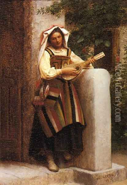 An Italian Girl Playing a Mandolin Oil Painting - Jean-Leon Gerome