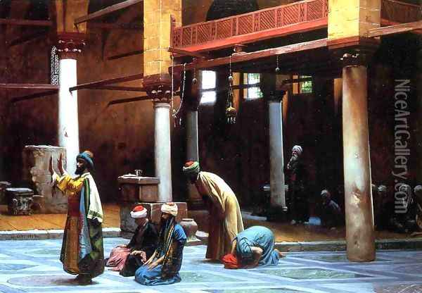 Prayer In The Mosque Oil Painting - Jean-Leon Gerome