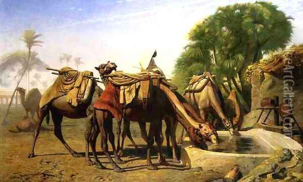 Camels at a Watering Trough Oil Painting - Jean-Leon Gerome