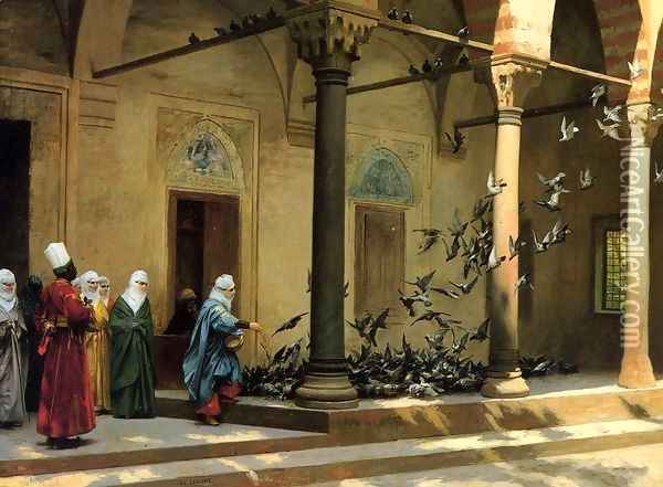 Harem Women Feeding Pigeons in a Courtyard Oil Painting - Jean-Leon Gerome
