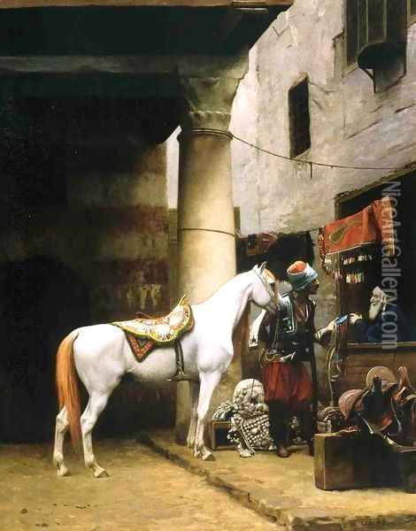 Arab Purchasing a Bridle Oil Painting - Jean-Leon Gerome