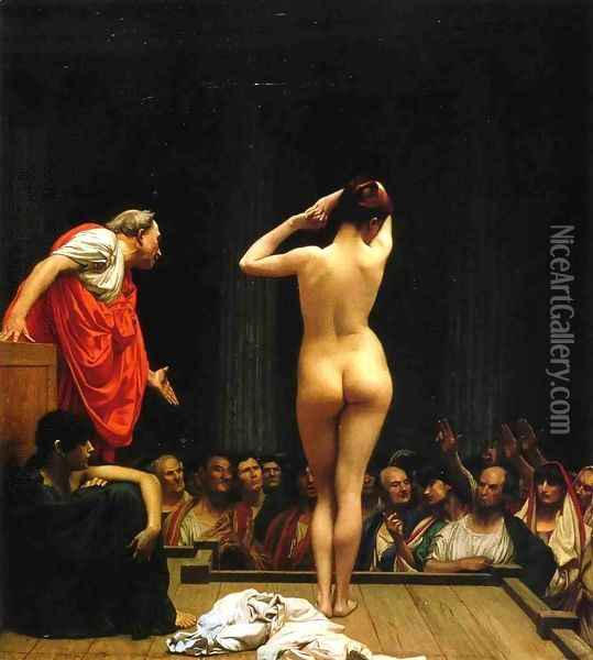 Selling Slaves in Rome Oil Painting - Jean-Leon Gerome