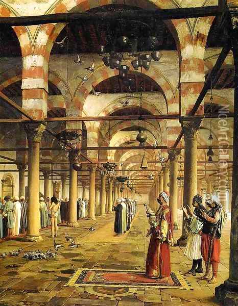 Paryer in the Mosque Oil Painting - Jean-Leon Gerome