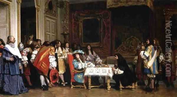Louis XIV and Molière Oil Painting - Jean-Leon Gerome