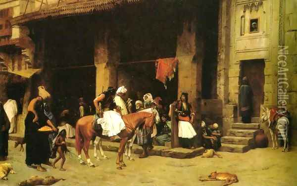 A Street Scene In Cairo Oil Painting - Jean-Leon Gerome