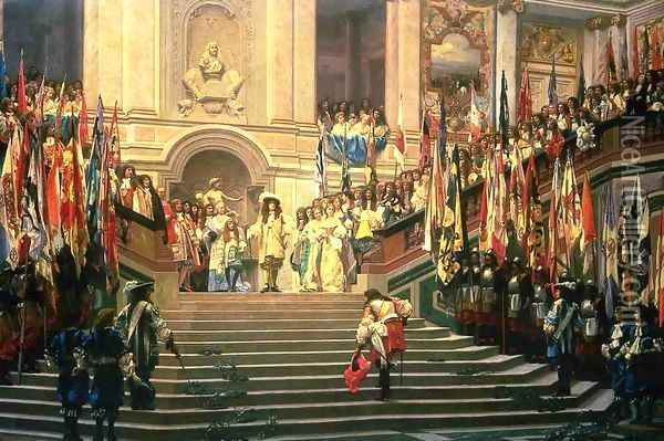 The Reception for Prince Conde at Versailles Oil Painting - Jean-Leon Gerome