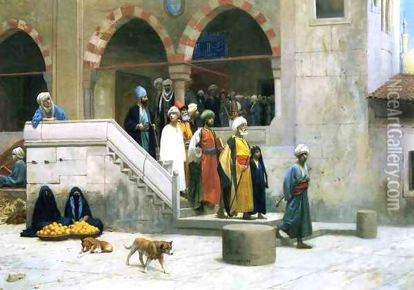 Leaving the Mosque Oil Painting - Jean-Leon Gerome