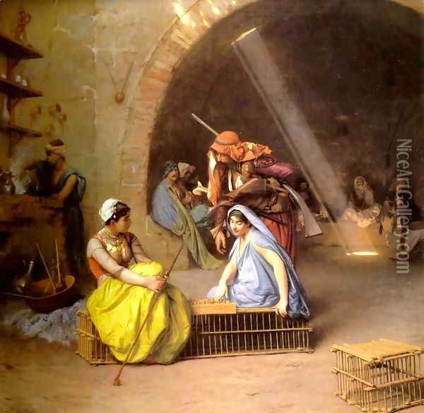 Almehs playing Chess in a Café Oil Painting - Jean-Leon Gerome