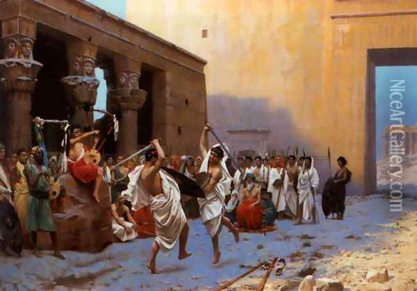 The Pyrrhic Dance (or Sword Dance Before Egyptian Ruins) Oil Painting - Jean-Leon Gerome