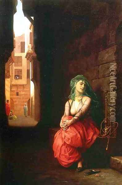 Young Arab Woman with Waterpipe Oil Painting - Jean-Leon Gerome