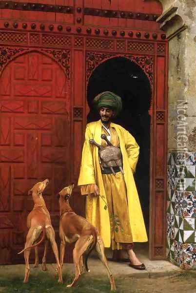 An Arab And His Dogs Oil Painting - Jean-Leon Gerome